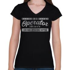 PRINTFASHION Operator - Női V-nyakú póló - Fekete