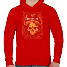 PRINTFASHION Ördögi sugallat - Férfi kapucnis pulóver - Piros