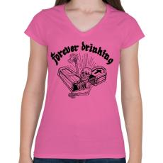 PRINTFASHION Örökké inni - Női V-nyakú póló - Rózsaszín
