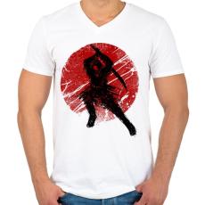 PRINTFASHION Ősi szamuráj - Férfi V-nyakú póló - Fehér