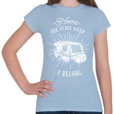 PRINTFASHION Otthon bárhol lehet - Női póló - Világoskék