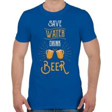 PRINTFASHION Óvd a vizet, igyál sört! - Férfi póló - Királykék