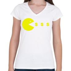 PRINTFASHION Pacman - Női V-nyakú póló - Fehér