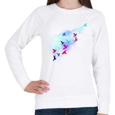 PRINTFASHION Paper birds - Női pulóver - Fehér