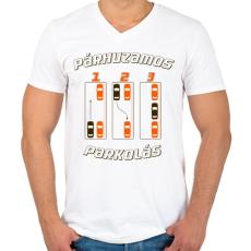 PRINTFASHION parhuzamos-parkolas-2-brown-orange - Férfi V-nyakú póló - Fehér