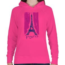 PRINTFASHION Párizs - Női kapucnis pulóver - Fukszia
