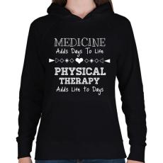 PRINTFASHION PHYSICAL THERAPY - Női kapucnis pulóver - Fekete
