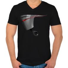 PRINTFASHION Piston - Férfi V-nyakú póló - Fekete