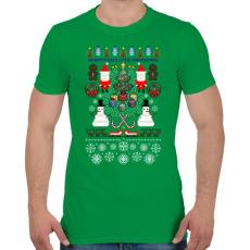 PRINTFASHION Pixel Karácsony - Férfi póló - Zöld