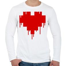 PRINTFASHION Pixel love - Férfi hosszú ujjú póló - Fehér