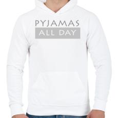 PRINTFASHION Pizsi egész nap! - Férfi kapucnis pulóver - Fehér
