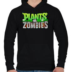 PRINTFASHION Plants vs. Zombies - Férfi kapucnis pulóver - Fekete