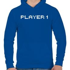 PRINTFASHION PLAYER 1 - Férfi kapucnis pulóver - Királykék