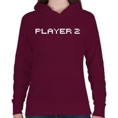 PRINTFASHION PLAYER 2 - Női kapucnis pulóver - Bordó
