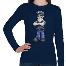 PRINTFASHION Policeman - Női hosszú ujjú póló - Sötétkék