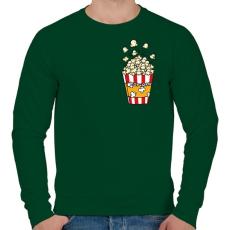 PRINTFASHION Popcorn zseb - Férfi pulóver - Sötétzöld