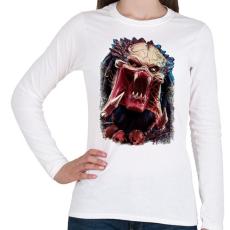 PRINTFASHION Predator - Női hosszú ujjú póló - Fehér