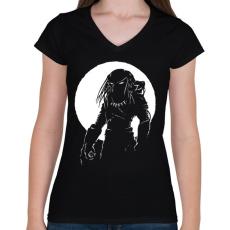 PRINTFASHION Predator - Női V-nyakú póló - Fekete