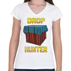 PRINTFASHION PUBG - Drop Hunter - Női V-nyakú póló - Fehér