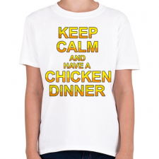 PRINTFASHION PUBG - Keep Calm and have a Chicken Dinner - Gyerek póló - Fehér gyerek póló