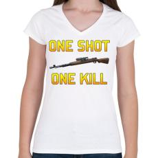 PRINTFASHION PUBG - One Shot, One Kill - Női V-nyakú póló - Fehér