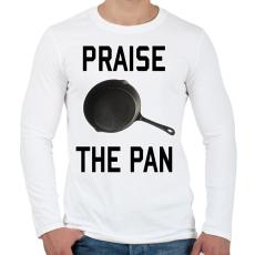 PRINTFASHION PUBG - Praise the Pan - Férfi hosszú ujjú póló - Fehér
