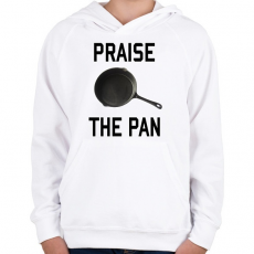 PRINTFASHION PUBG - Praise the Pan - Gyerek kapucnis pulóver - Fehér