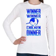 PRINTFASHION PUBG - WINNER (Kék) - Női hosszú ujjú póló - Fehér