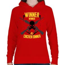 PRINTFASHION PUBG - WINNER WINNER CHICKEN DINNER - Női kapucnis pulóver - Piros