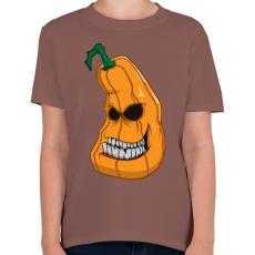 PRINTFASHION Pumpkin head - Gyerek póló - Mogyoróbarna