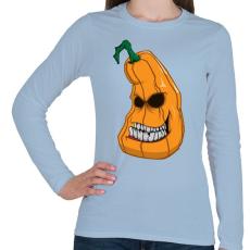 PRINTFASHION Pumpkin head - Női hosszú ujjú póló - Világoskék
