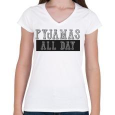 PRINTFASHION Pyjamas all day - Női V-nyakú póló - Fehér