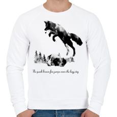 PRINTFASHION Quick brown fox - Férfi pulóver - Fehér