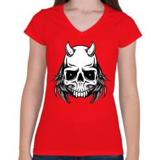 PRINTFASHION Ragadozó - Női V-nyakú póló - Piros
