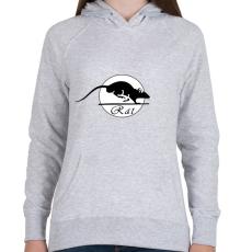 PRINTFASHION rat - Női kapucnis pulóver - Sport szürke