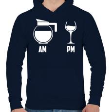 PRINTFASHION Reggel - Este Fekete - Férfi kapucnis pulóver - Sötétkék