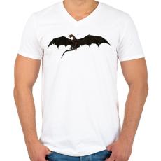 PRINTFASHION Repülő Sárkány - Férfi V-nyakú póló - Fehér