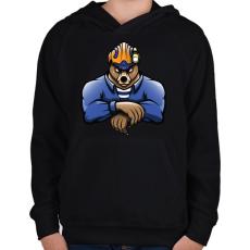 PRINTFASHION Rescue Bear - Gyerek kapucnis pulóver - Fekete