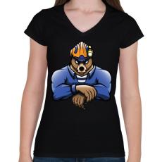 PRINTFASHION Rescue Bear - Női V-nyakú póló - Fekete