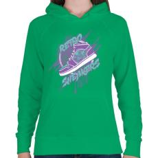PRINTFASHION Retro csuka - Női kapucnis pulóver - Zöld