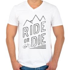 PRINTFASHION Ride or Die - Férfi V-nyakú póló - Fehér