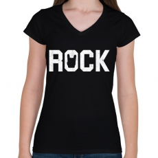 PRINTFASHION Rock and roll - Női V-nyakú póló - Fekete