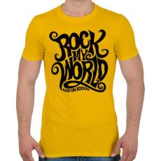 PRINTFASHION Rock my world - Férfi póló - Sárga