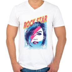 PRINTFASHION Rock sztár - Férfi V-nyakú póló - Fehér