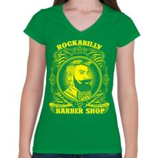 PRINTFASHION Rockabilly borbély - Női V-nyakú póló - Zöld
