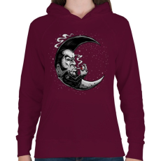 PRINTFASHION Rocker hold - Női kapucnis pulóver - Bordó