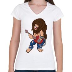PRINTFASHION Rocker Oroszlán - Női V-nyakú póló - Fehér