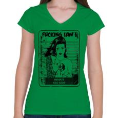 PRINTFASHION Rohadt törvény - Női V-nyakú póló - Zöld
