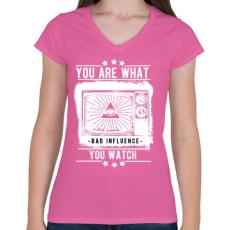 PRINTFASHION Rossz hatás - Női V-nyakú póló - Rózsaszín