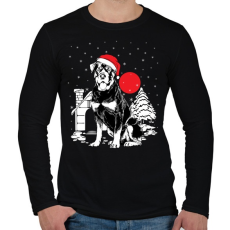 PRINTFASHION Rottweiler Karácsony - Férfi hosszú ujjú póló - Fekete